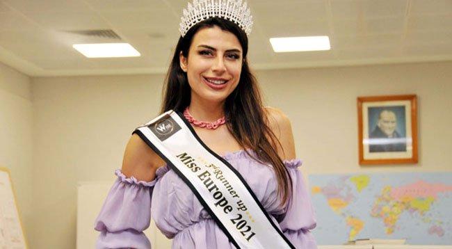 Çakmak, Lübnan'da düzenlenen 'Miss Europe 2021' yarışmasında üçüncü oldu