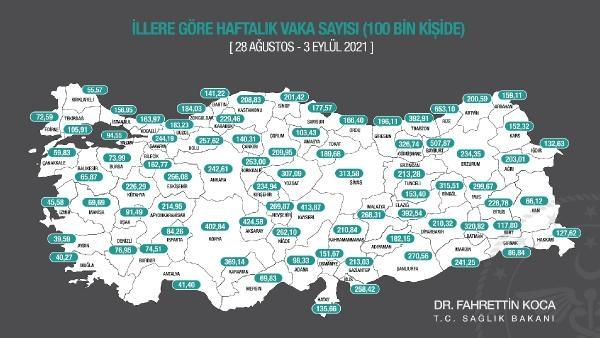 Vaka haritası güncellendi; nüfusa oranla en fazla vaka yine Rize'de